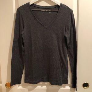 EUC! Gray Long Sleeve Cotton V-Neck Tee T-Shirt